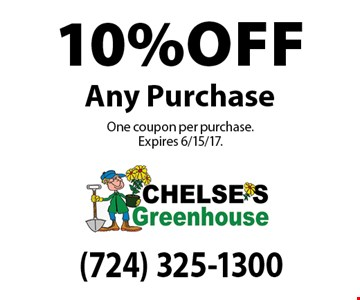 10% off Any Purchase. One coupon per purchase. Expires 6/15/17.
