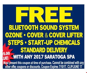 Free Bluetooth sound system Ozone • Cover & Cover Lefter • Steps * start-up chemicals standard delivery- with any 2017 saratoga spa