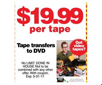 $19.99 per tape
