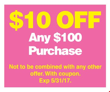 $10 off any $100 purchase