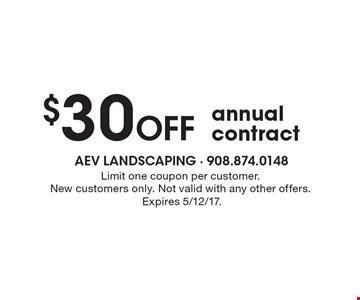 $30 Off annual contract. Limit one coupon per customer. New customers only. Not valid with any other offers. Expires 5/12/17.