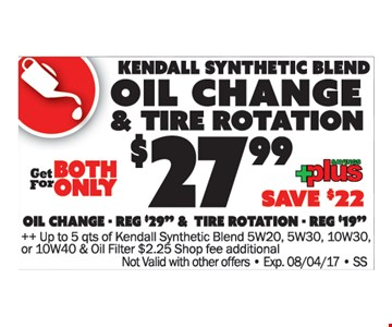 $27.99 Kendall Synthetic Blend Oil Change & Tire Rotation