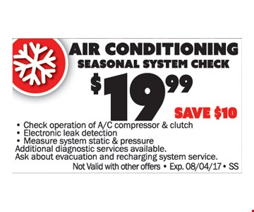 A/C Seasonal System Check
