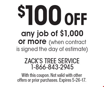 $100 Off any job of $1,000 or more (when contract is signed the day of estimate). With this coupon. Not valid with other offers or prior purchases. Expires 5-26-17.