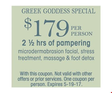 $179 per person 2 1/2 hrs of pampering