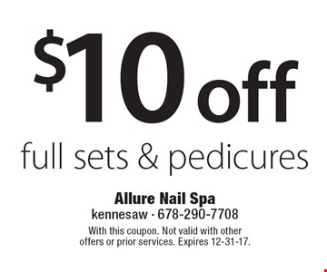 $10 off full sets & pedicures. With this coupon. Not valid with other offers or prior services. Expires 12-31-17.
