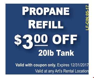 $3 off propane refill 20 lb tank