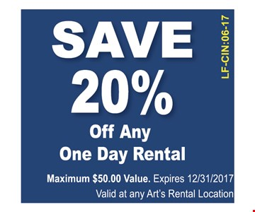 20% off any one day rental