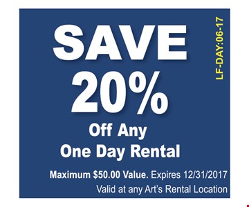 Save 20% Off One Day Rental