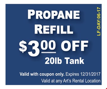 Propane Refill $3.00 Off 20 lb Tank