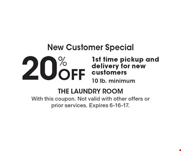 New Customer Special. 20% Off 1st time pickup and delivery for new customers. 10 lb. minimum. With this coupon. Not valid with other offers or prior services. Expires 6-16-17.