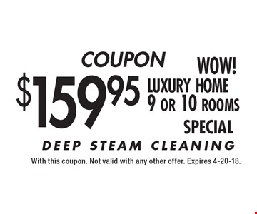COUPON $159.95 luxury home 9 or 10 rooms SPECIAL. With this coupon. Not valid with any other offer. Expires 4-20-18.