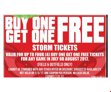 Buy One Get One Free Storm Tickets