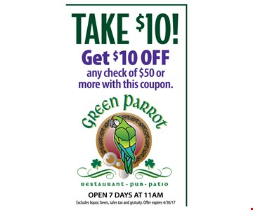 Get $10 OFF any Check of $50 or more with this coupon.