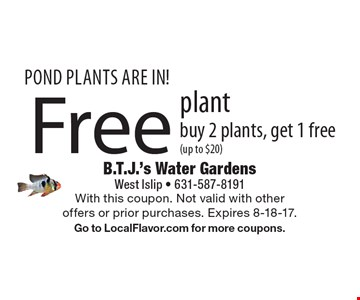Pond Plants Are In! Free plant. Buy 2 plants, get 1 free (up to $20). With this coupon. Not valid with other offers or prior purchases. Expires 8-18-17. Go to LocalFlavor.com for more coupons.