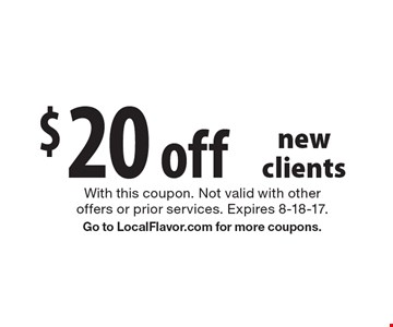 $20 off Pond Cleaning, new clients. With this coupon. Not valid with other offers or prior services. Expires 8-18-17. Go to LocalFlavor.com for more coupons.