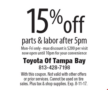 15%off parts & labor after 5pm Mon-Fri only - max discount is $200 per visit now open until 10pm for your convenience. With this coupon. Not valid with other offers or prior services. Cannot be used on tire sales. Plus tax & shop supplies. Exp. 8-11-17.