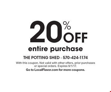 20% Off entire purchase. With this coupon. Not valid with other offers, prior purchases or special orders. Expires 9/1/17. Go to LocalFlavor.com for more coupons.