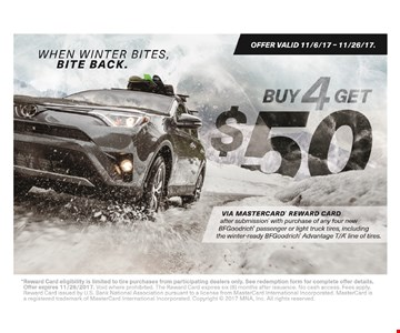 buy 4 tires get a $100 gift card