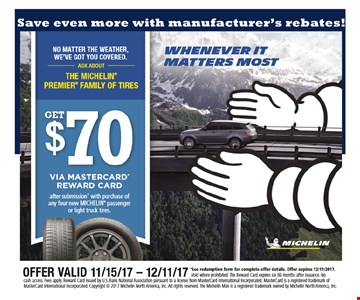 Save $70 on Michelin Premier family of tires
