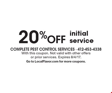 20 %OFF initial service. With this coupon. Not valid with other offersor prior services. Expires 8/4/17.Go to LocalFlavor.com for more coupons.