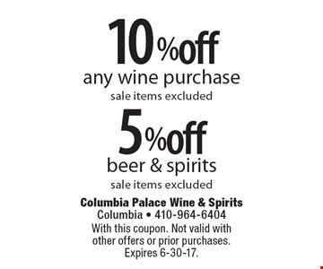 5% off beer & spirits. Sale items excluded OR 10% off any wine purchase. Sale items excluded. With this coupon. Not valid with other offers or prior purchases. Expires 6-30-17.