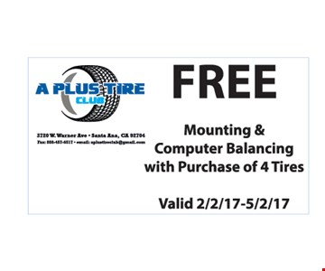 Free mounting and balance with 4 tire purchase.