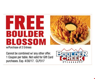 Free boulder blossom with purchase.