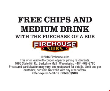 free chips and medium drink with the purchase of a sub. 2016 Firehouse subsThis offer valid with coupon at participating restaurants.1665 State Hill Rd. Berkshire Mall - Wyomissing - 484-709-2780Prices and participation may vary, see restaurant for details. Limit one per customer, per visit. Not valid with any other offers.Offer expires 5-31-17. COMBO$SUB