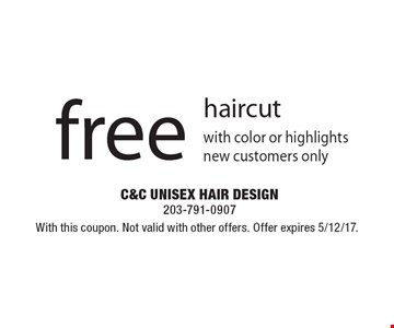 Free haircut. With this coupon. Not valid with other offers. Offer expires 5/12/17.