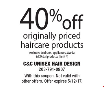 40% off originally priced haircare products excludes dual sets, appliances, Aveda & L'Oreal products (limit 4). With this coupon. Not valid with other offers. Offer expires 5/12/17.