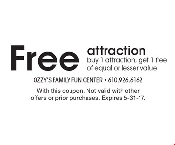 Free attraction. Buy 1 attraction, get 1 free of equal or lesser value. With this coupon. Not valid with other offers or prior purchases. Expires 5-31-17.