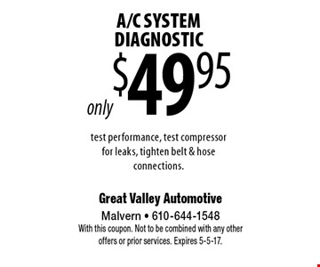 only $49.95 A/C SYSTEM DIAGNOSTIC test performance, test compressor for leaks, tighten belt & hose connections. With this coupon. Not to be combined with any other offers or prior services. Expires 5-5-17.