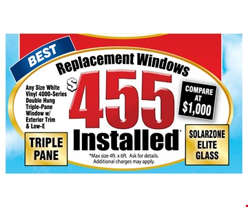 $455 Triple Pane Replacement Windows. Installed