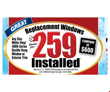 $259 Replacement Windows. Installed
