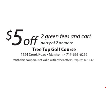 $5 off 2 green fees and cart party of 2 or more. With this coupon. Not valid with other offers. Expires 8-31-17.