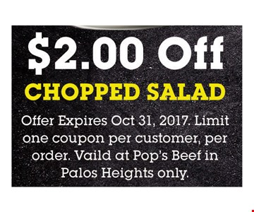 $2 Off Chopped Salad