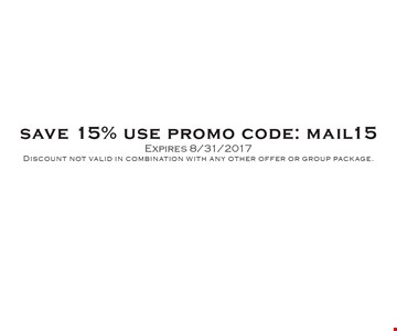 15% off admission. Use promo code mail15. Discount not valid in combination with any other offer or group package. Expires 8/31/17.