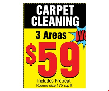 Carpet cleaning 3 Area $59 includes protreat
