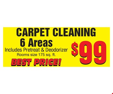 Carpet cleaning 6 areas $99 includes Pretreat and Deodorizer