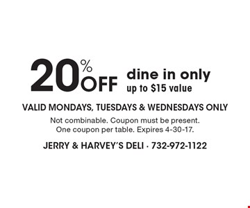 20% Off dine in only up to $15 value Valid Mondays, Tuesdays & Wednesdays only. Not combinable. Coupon must be present. One coupon per table. Expires 4-30-17.