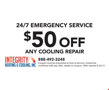 24/7 emergency service. $50 off any cooling repair. Coupon must be presented at time of service. Cannot be combined with any offer, rebate or coupon. Offer expires 8-30-17.