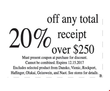 20% off any total receipt over $250.