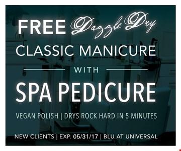 Free Dazzle Dry Classic Manicure with Spa Pedicure