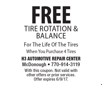 FREE Tire Rotation & Balance For The Life Of The Tires When You Purchase 4 Tires. With this coupon. Not valid with other offers or prior services.  Offer expires 6/9/17.