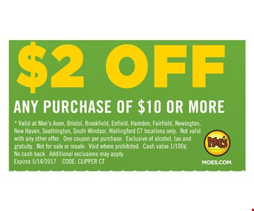 $2 Off any purchase of $10 or more.