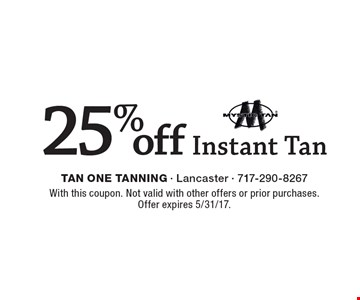 25% off Mystic Instant Tan. With this coupon. Not valid with other offers or prior purchases. Offer expires 5/31/17.