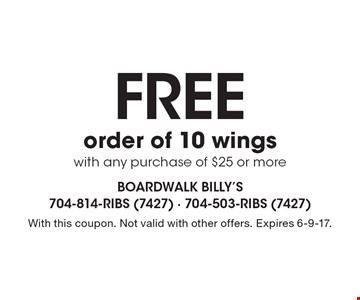Free order of 10 wings with any purchase of $25 or more. With this coupon. Not valid with other offers. Expires 6-9-17.