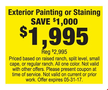$1995  interior painting or staining