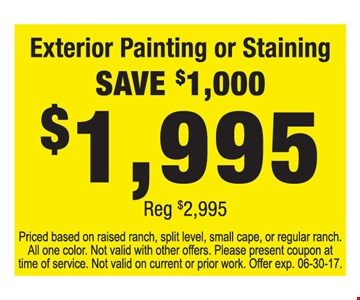 Save $1,000 on exterior painting or staining